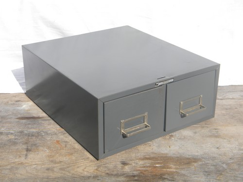 1960s industrial gray file card catalog cabinet for vintage office or shop