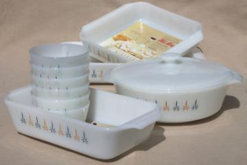 1960s vintage Candle Glow Fire-King milk glass baking dishes set w/ original paper labels
