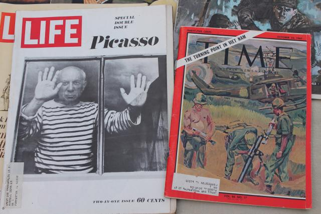 1960s vintage  LIFE magazines lot of 9 retro advertising Picasso, Bay of Pigs, Watts