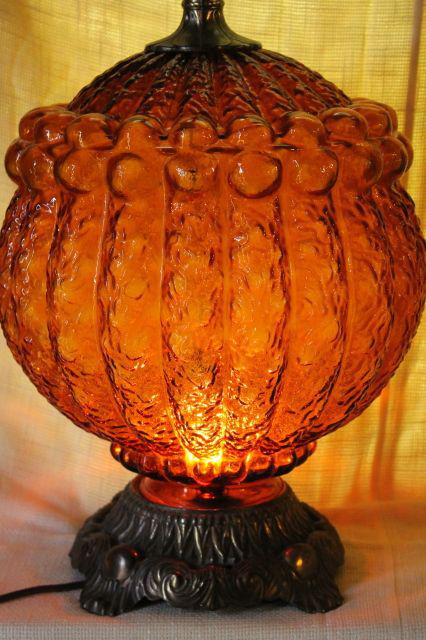 1960s Vintage Amber Glass Lamp W Huge Textured Glass