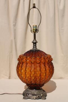 1960s vintage amber glass lamp w/ huge textured glass globe lantern lighted base