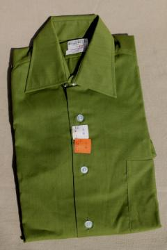 1960s vintage deadstock size 14 1/2 shirt w/ french cuffs, deep avocado green color Union label