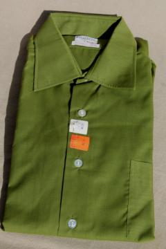 1960s vintage deadstock size 16 shirt w/ french cuffs, deep avocado green color Union label