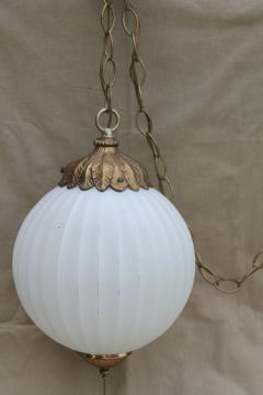 1960s vintage swag lamp, Hollywood regency gold & white pendant light w/ round glass shade