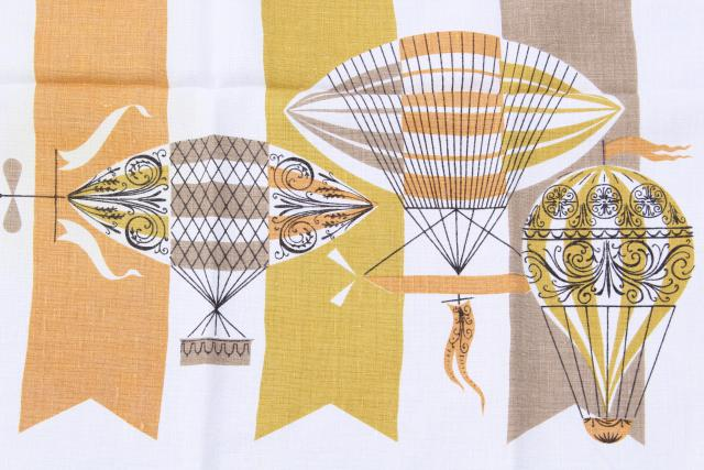 1960s vintage tablecloths, yellow, gold, coral pink retro hot air balloons, fruit & flowers