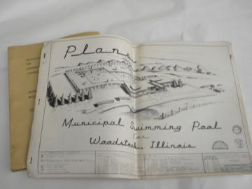 1961 city swimming pool blueprints/architectural drawings plans Woodstock, IL