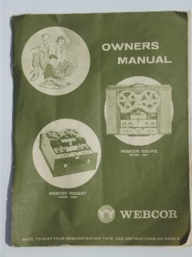 1963 Webcor owners manual, Regent 2456/Squire 2457 reel to reel tape player