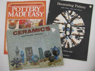 1970s craft books lot, hand-thrown pottery, ceramics how-to