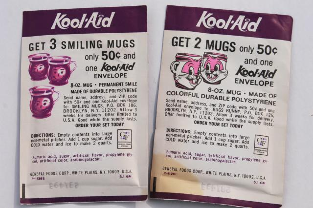 1970s vintage Kool Aid drink mix packets lot, unopened packages