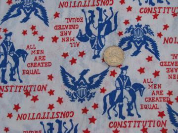 1970s vintage American Revolution federal eagle print fabric, retro!