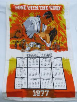 1970s vintage print cotton calendar kitchen towel, Gone With The Wind