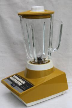 1970s vintage Sears 16 speed blender, retro harvest gold kitchen blender