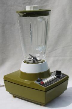 1970s vintage Sears Insta-Blend 7 speed blender, retro avocado green kitchen blender