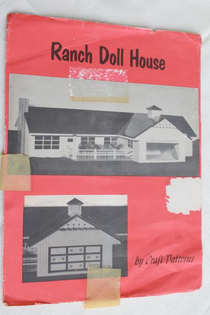 1970s vintage woodworking pattern for mid-century Ranch dollhouse doll house