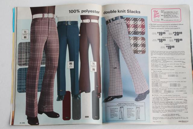 1975 Sears catalog book of men's big & tall clothes, groovy retro disco fashion!