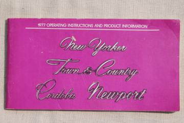1977 vintage car manual operating instructions New Yorker Town & Country Cordoba Newport