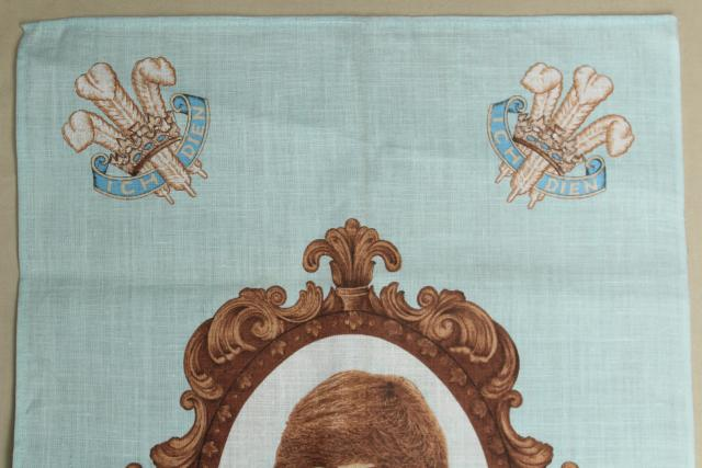 1980s vintage printed linen tea towel Diana a Princess for Wales, Lady Di