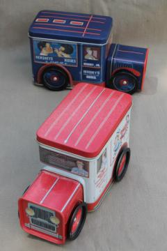 1990s collectible toy truck tins, Campbell's soup & Hershey's advertising