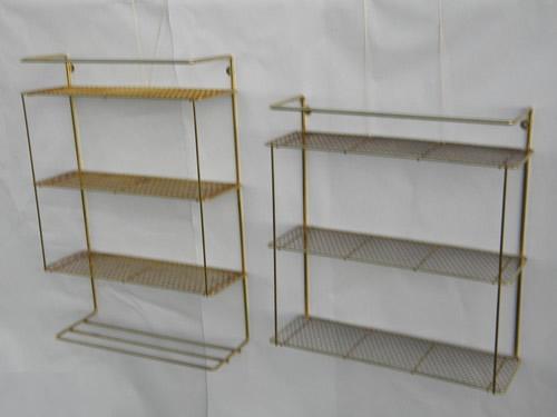 2 retro vintage hanging wall shelf units with metal mesh shelves