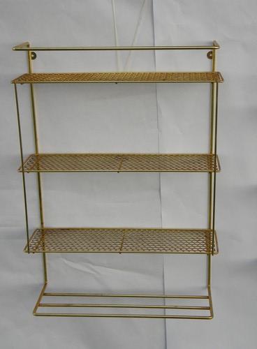 2 retro vintage hanging wall shelf units with metal mesh. Black Bedroom Furniture Sets. Home Design Ideas