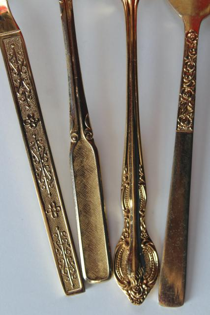 200+ pieces mismatched vintage flatware, gold electroplate golden silverware
