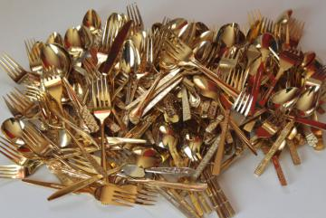 200+ pieces mismatched vintage flatware, gold electroplate golden silverware