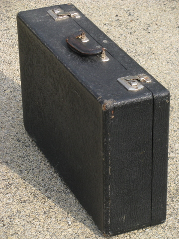 20s-30s vintage suitcase, sharkskin leather grain paper overnight case