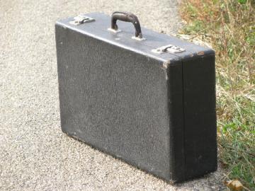 20s-30s vintage suitcase, sharkskin leather grain paper overnight case