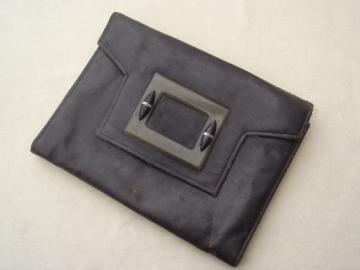30s 40s vintage envelope clutch purse, leather w/ green bakelite buckle