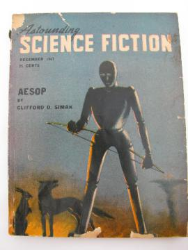 40s pulp vintage sci-fi magazine Astounding Science Fiction, robot cover art