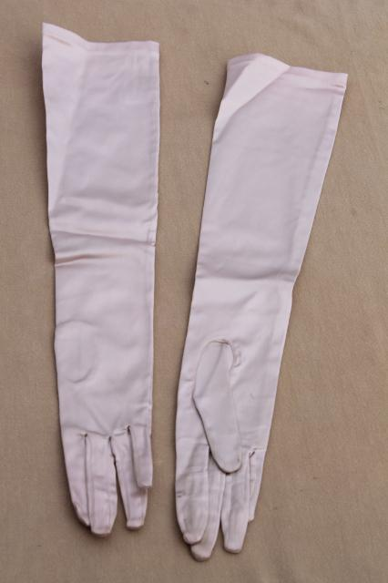 40s vintage Saks Fifth Avenue oyster grey stretch satin ladies gloves, retro pin-up opera length