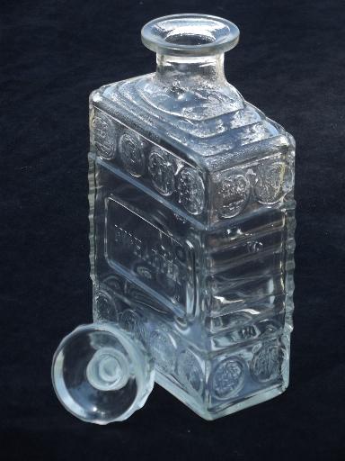 40s Vintage I W Harper Whiskey Bottles Coin Glass