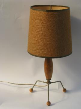 50s 60s mod vintage wood and wire desk / table lamp, retro burlap shade