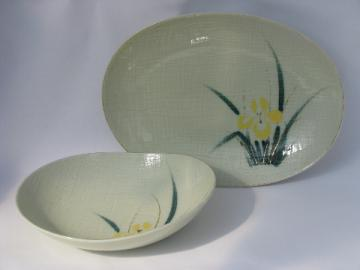 50s - 60s retro modern barkcloth textured china bowl & platter, yellow iris