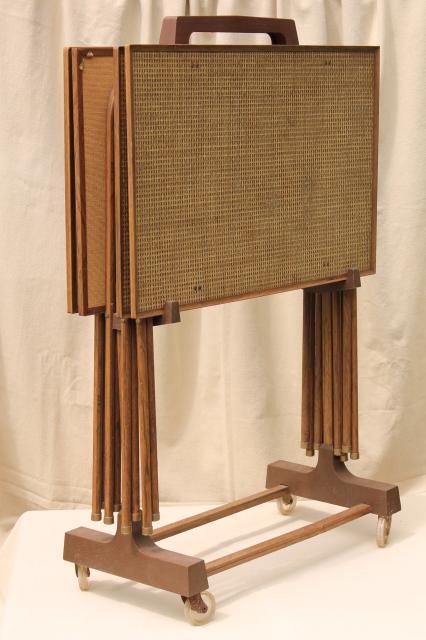 50s 60s Vintage TV Tables, Retro Metal Folding Table Set W/ Mid Century Mod  Grasscloth