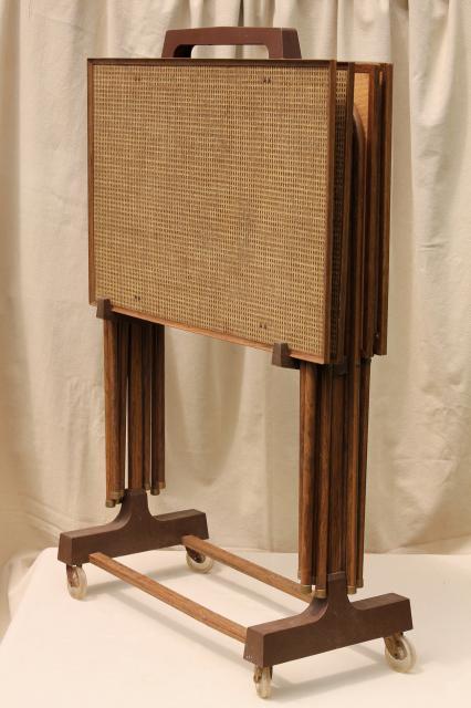 50s 60s Vintage Tv Tables Retro Metal Folding Table Set W
