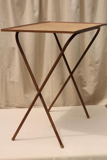 Magnificent 50S 60S Vintage Tv Tables Retro Metal Folding Table Set W Download Free Architecture Designs Scobabritishbridgeorg