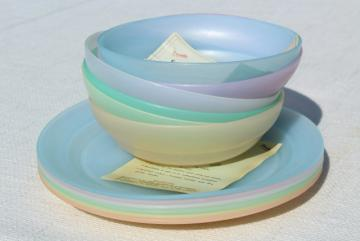 50s 60s vintage Tupperware frosted pastel colors, unused set plates & bowls