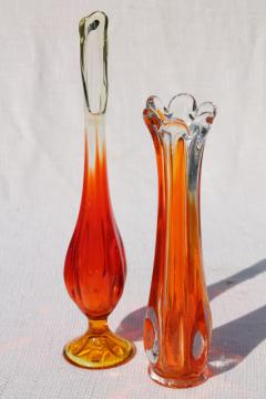50s 60s vintage art glass bud vases, mod flame orange / clear glass hand blown swung shapes