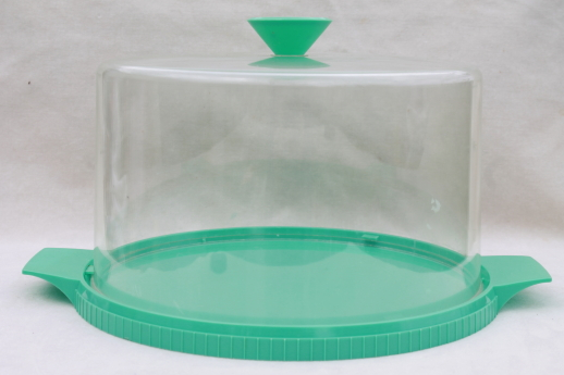 50s 60s vintage cake keeper, turquoise plastic plate & clear cake ...
