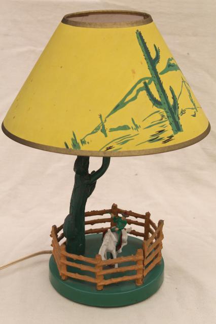 50s 60s Vintage Cast Iron Lamp W Saguaro Cactus Plastic Cowboy Amp Horse Original