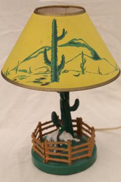 50s 60s vintage cast iron lamp w/ saguaro cactus, plastic cowboy & horse, original print paper shade