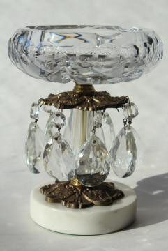 50s 60s vintage crystal ashtray w/ prisms, Italian florentine Hollywood regency style