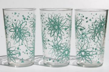 50s 60s vintage drinking glasses, retro turquoise atomic print tumblers