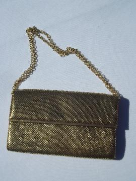 50s 60s vintage gold mesh Whiting & Davis evening bag, purse w/ chain handle