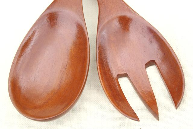 50s 60s vintage huge round wooden salad bowl & servers set, retro tropical wood