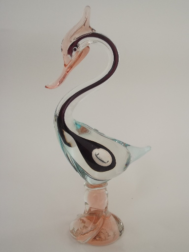 50s 60s vintage Murano glass pelican bird, Venetian label art glass
