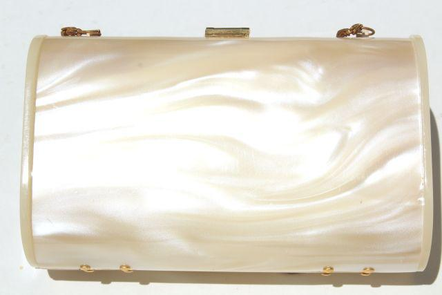 50s 60s vintage pearly plastic evening purse, compact box bag, clutch w/ shoulder strap chain