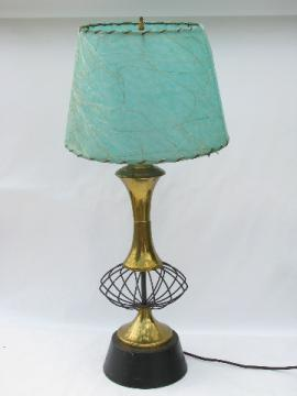 50s Eames era vintage atomic wire table or desk lamp, mod laced parchment shade in aqua