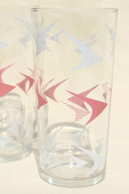 50s mod vintage bar glasses, pink boomerang atomic print highball drinking glasses